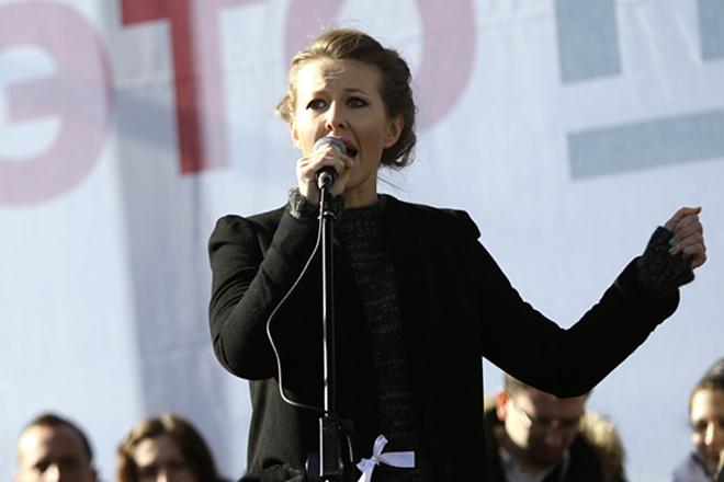 Ксения Собчак на митинге