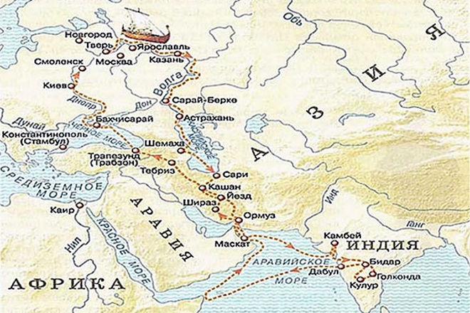 Карта Афанасия Никитина