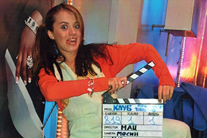 Екатерина Кабак на съемках сериала «Клуб»