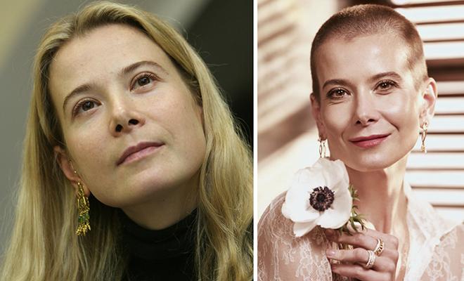 Юлия Высоцкая до и после бритья налысо