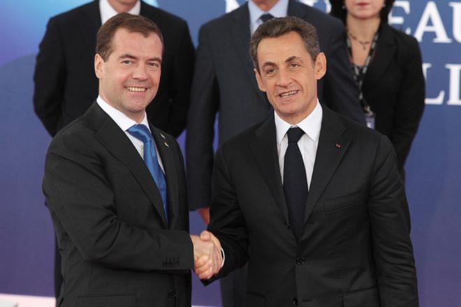 Николя Саркози и Дмитрий Медведев