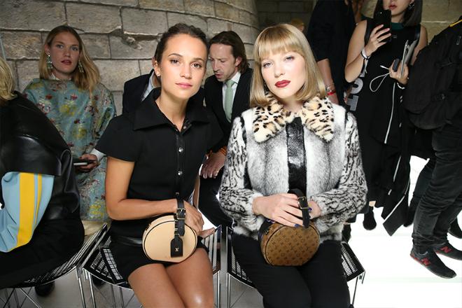 Леа Сейду и Алисия Викандер на показе коллекции Louis Vuitton в 2018 году