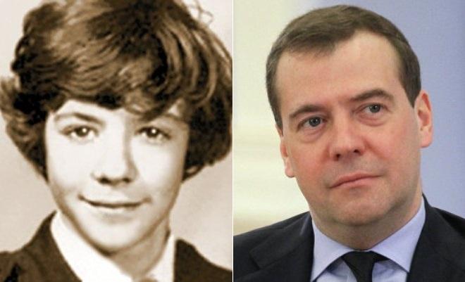 Дмитрий Медведев в детстве и сейчас