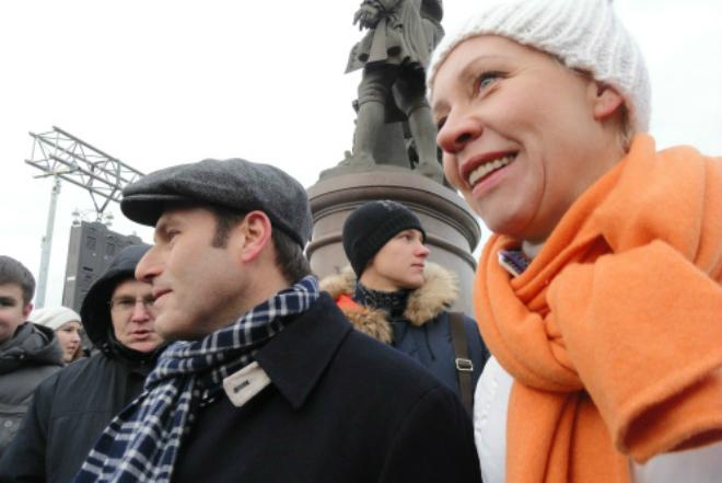Михаил Шац с женой на акции протеста на Болотной