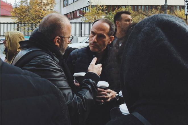 Михаил Шац на акции протеста