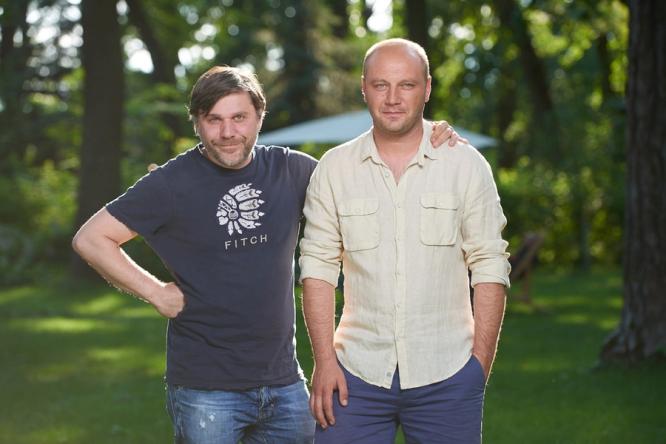 Джемал Тетруашвили и Дмитрий Суржиков на съемках сериала «Родственнички»