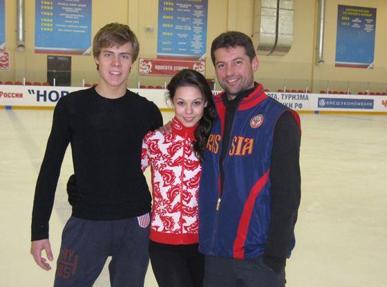 Никита Кацалапов, Елена Ильиных и Николай Морозов, тренер пары