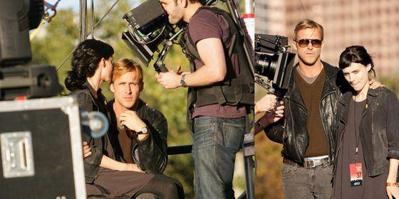 Руни Мара и Райан Гослинг на съемочной площадке