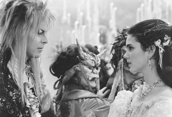 Дженнифер Коннелли и Дэвид Боуи на съемках фильма «Лабиринт»