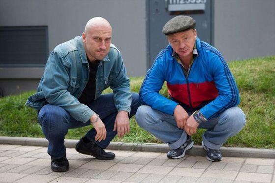 Владимир Сычев и Дмитрий Нагиев на съемках сериала «Физрук»