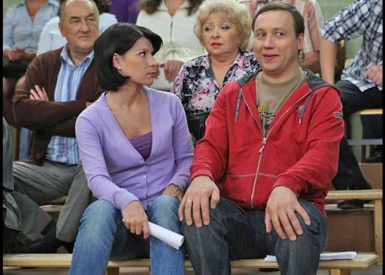Екатерина Волкова на съемках сериала «Воронины»