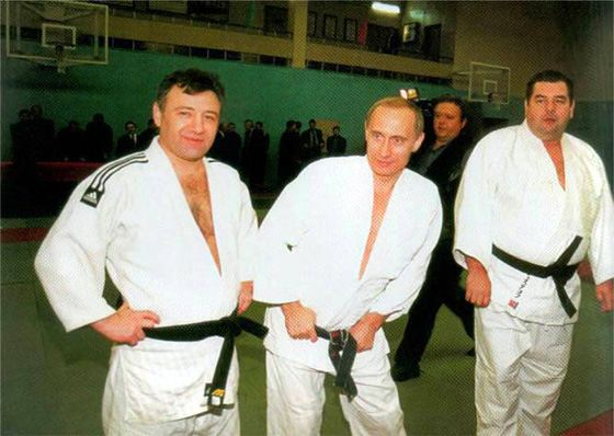 Аркадий Ротенберг и Владимир Путин на тренировке