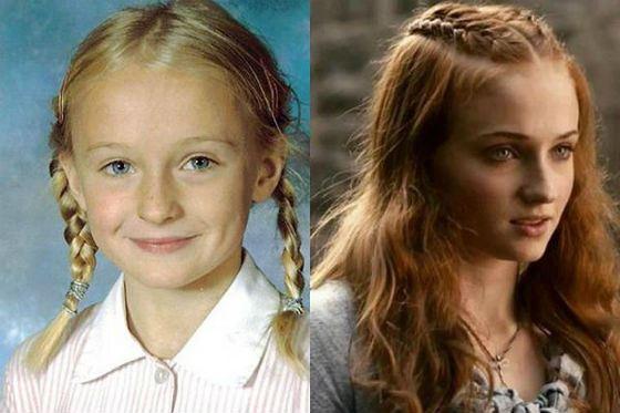 Софи Тернер в детстве и сейчас