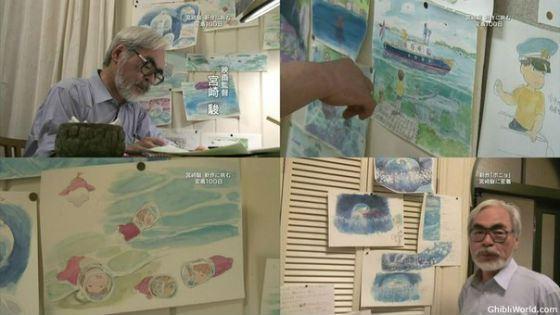 Хаяо Миядзаки во время работы над «Рыбкой Поньо»