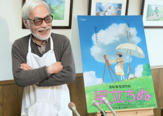 Хаяо Миядзаки на презентации аниме «Ветер крепчает»