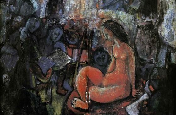 В молодости Хаяо Миядзаки рисовал маслом – на фото одна из его картин