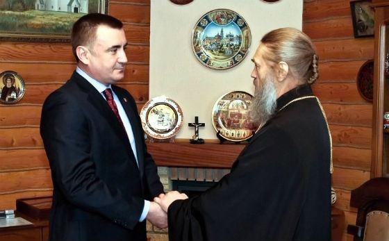 Алексей Дюмин на встрече с митрополитом Тульским