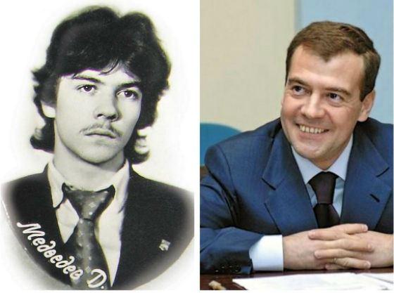 Дмитрий Медведев в юности и сейчас