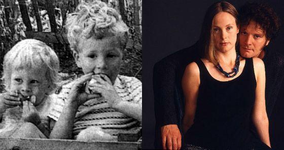 Колин Ферт с младшей сестрой Кейт (в детстве и сейчас)