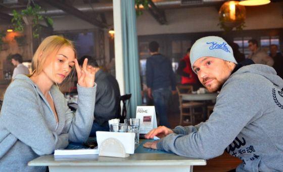 Оксана Акиньшина и Алексей Чадов на съемках «Молота»
