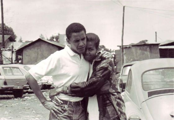 Барак и Мишель Обама в молодости