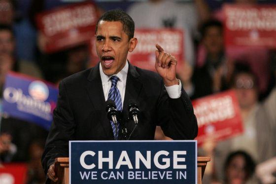 Барак Обама во время предвыборной кампании 2008 года