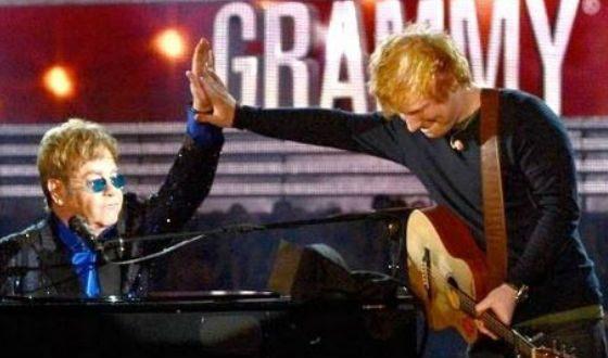 На фото: Эд Ширан и Элтон Джон на церемонии «Грэмми»