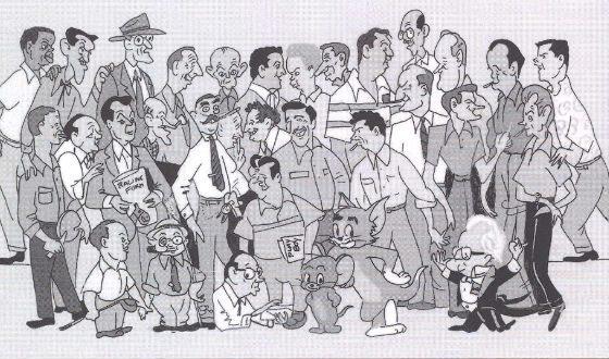 Шарж на сотрудников студии Х-Б (Джек Николсон справа в верхнем ряду)