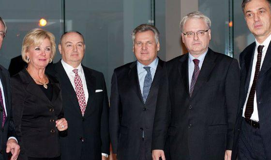 Вячеслав Кантор с главами Хорватии, Черногории, экс-главой Польши
