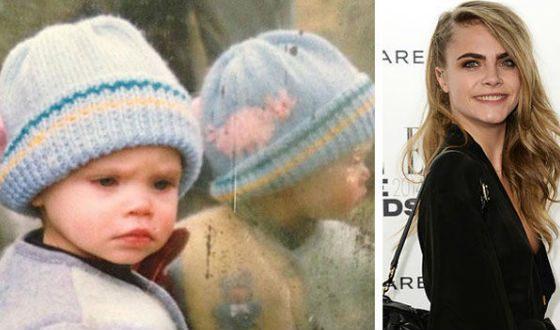 Кара Делевинь в детстве и сейчас