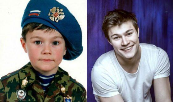 Олег Гаас в детстве и сейчас