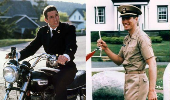 Молодой Ричард Гир на съемках фильма «Офицер и джентльмен»