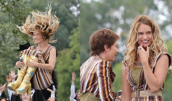 Лили Джеймс на съемках «Mamma Mia 2»