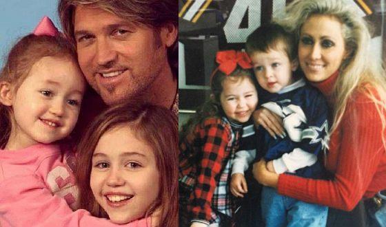 Маленькая Майли Сайрус с родителями, сестрой и братом