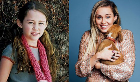 Майли Сайрус в детстве и сейчас
