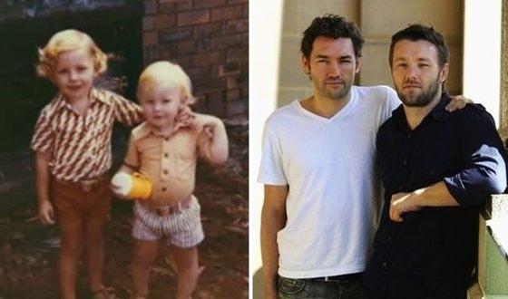 Братья Эдгертон в детстве и сейчас