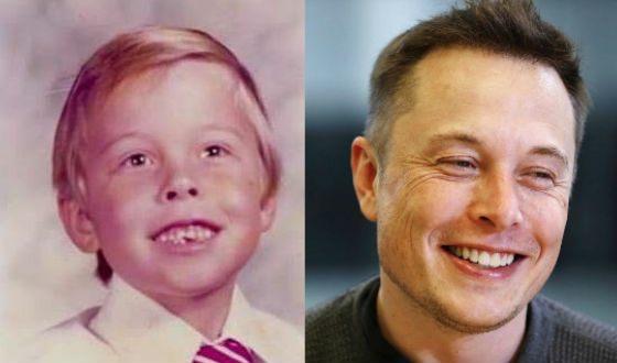 Илон Маск в детстве и сейчас