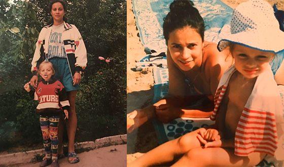 Катя Кищук в детстве с мамой