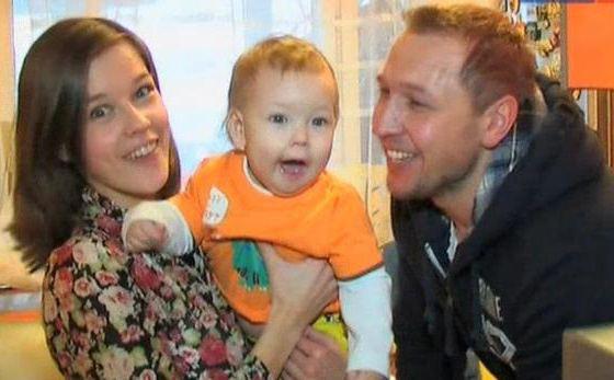 Константин Адаев и его жена Екатерина Шпица с сыном
