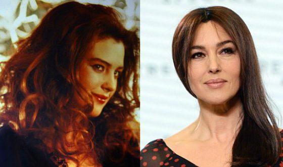 Моника Беллуччи в молодости и сейчас (18 и 50 лет)