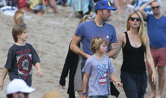 Крис Мартин с Гвинет Пэлтроу и детьми