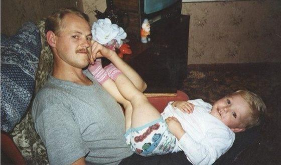 Никита Еленев в детстве с отцом