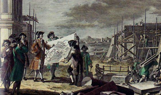Петр I на строительстве Санкт-Петербурга. неизвестный художник, ок. 1830 г