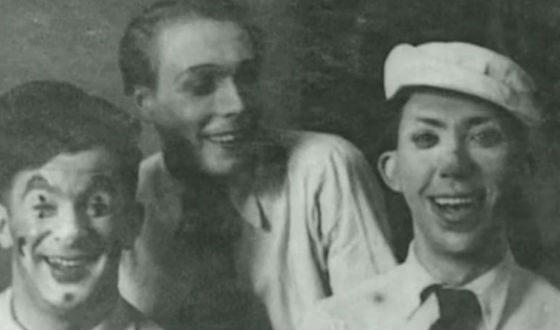 Молодой Юрий Никулин в цирке (справа)