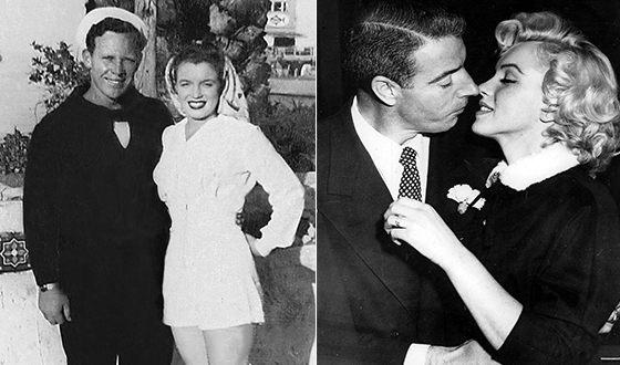 Мэрилин Монро и её бывшие мужья: Джеймс Догерти (слева) и Джо Ди Маджио (справа)