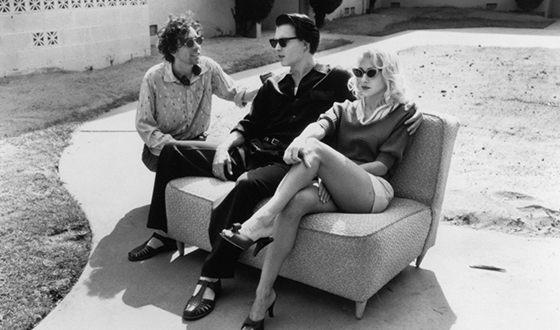 Тим Бёртон, Джонни Депп и Сара Джессика Паркер на съемках фильма «Эд Вуд»
