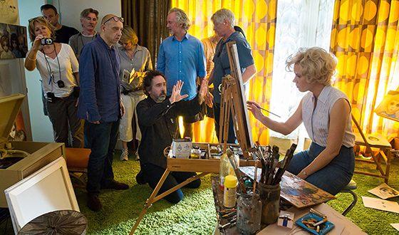 Тим Бёртон и Эми Адамс на съемках фильма «Большие глаза»