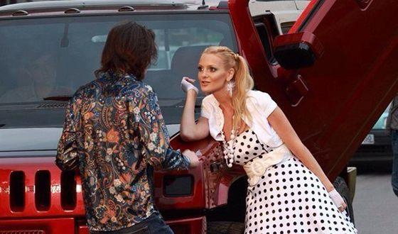 Екатерина Мельник на съемках фильма «Москва.ру»