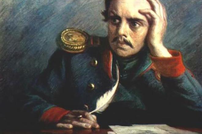 Михаил Лермонтов пишет стихи