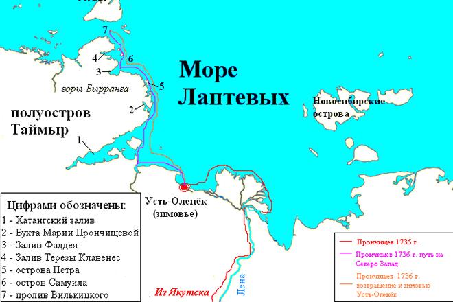Маршрут экспедиции Василия Прончищева